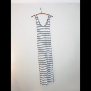 LOFT Gray Striped Terry Cloth Maxi Dress